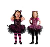 ingrosso copricapo costume-2017 Hot costumi di Halloween per la neonata tutu dress + copricapo Cheshire Cat ragazza Prom animale Cosplay abbigliamento bambini vestiti per le ragazze
