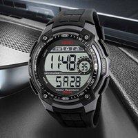 ingrosso orologio digitale quadrante nero-Gli uomini impermeabili di sport degli uomini di marca di SKMEI gli uomini multifunzionali hanno personalizzato gli orologi da polso neri dell'orologio del quadrante dell'orologio LED di Digital