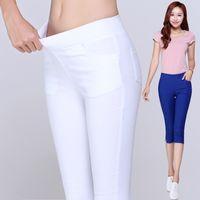 Wholesale Ladies Candy Color Pants - Wholesale-2016 Summer Style Candy Color Capri Pants Women Thin Summer Pants Ladies High Waist Elastic Plus Size Pants
