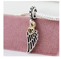 Fit Pandora Bracelets 30pc Lucky Angel Wing Charms Bead Feather Dangle Silver Beads pour la vente en gros Diy European Sterling Necklace Jewelry