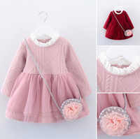Wholesale Girl Lace Sweater - Autumn kids Long Sleeve Princess Dresses Baby Girls Solid Sweater dress Children Knitted Net yarn Dress top quality