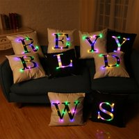 Wholesale Geometric Pillow Covers - 40*40cm LED Pillow Case Cushion Covers Big Letters Boster Case Color Changing LED Flash Lights Sofa pillowslip Throw Pillowcase