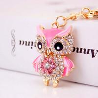Wholesale Owl Ring Holder - Luxury Gifts A Grade Women Sexy Key Holder Chain Ring Car Jewelry Bag Pendant Rhinestone Owl Keychain