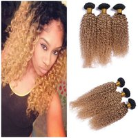 Kinky Curly Virgin Peruvian Honey Blonde Ombre Extensions de cheveux humains 3Pcs Dark Root 1B / 27 Light Brown Ombre Virgin Human Hair Weave Bundles