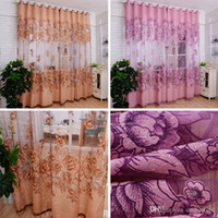 Wholesale 1pc Vogue Room Floral Tulle Window Screening Curtain Drape Scarfs Valances Sheer Curtains E00612 SMAD