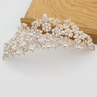 Wholesale King Crowns Tiaras - Luxurious Pearl Baroque Queen King Crown Diadem Bridal Prom Rose Gold Tiaras And Crowns Bride Wedding Hair Jewelry Accessories