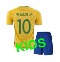 364b08d0f83 Soccer Boys Short thai quality 2017 brazil soccer Jersey kids kits 2016  brazil NEYMAR JR OSCAR