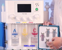 Wholesale Aqua Led - Portable 3 in 1n hydra dermabrasion aqua peeling microcureent bipolar RF six polar RF with blue LED light for facial care skin lifting spa