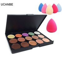 Wholesale Palette Corrector Makeup - UCANBE Brand 15 Colors Camouflage Concealer Palette Cream Contour Makeup Cover &Corrector Highlighter + Teardrop-shaped Puff