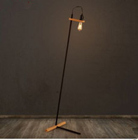 No black floor lamp - Nordic Retro Industrial Creative Wood Base iron Floor Lamp Lamparas De Pie Lampadaire Luminaria De Piso