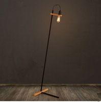 Wholesale Iron Floor - Nordic Retro Industrial Creative Wood Base &iron Floor Lamp Lamparas De Pie Lampadaire Luminaria De Piso