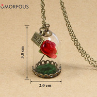 Wholesale Gold Vial Pendant - Wholesale- 2017 Fashion Hot Glass Vial Necklace Little Prince Rose Necklace Retro Crystal Natural Dried Flowers Necklace Christmas Gifts
