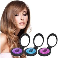 Wholesale Travel Brush Mirror - High Quality detangler hair comb Portable Airbag Massage Mini Folding Comb With Mirror Hair Brushes For Girls Travel Accessory