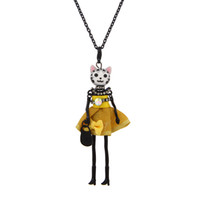 Wholesale Crystal Doll Necklace - France Doll Necklace Pendants Jewelry Fashion Cute Cats Crystal Kids Pendant KeyChains Bag Charms Accessories Women Gifts Wholesale
