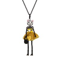 Francia Doll Necklace Pendants Jewelry Fashion Cute Cats Cristal Niños colgante KeyChains Bag Charms Accessories Mujeres regalos al por mayor