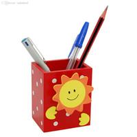 Wholesale Memo Holder Pen - Wholesale-Smile Sun Red Wooden Pencil Pen Holder with Memo Clip