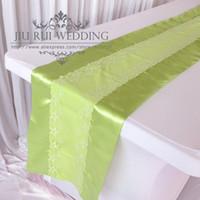 ingrosso pizzo verde di limone-2016 Nuova Moda Fancy Lemon Green Runner 35cm * 250cm 2PCS Un lotto per la decorazione di nozze a casa