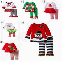 Wholesale Child Tutu Leggings - Children Christmas Outfit Newborn Baby Girl Clothing T-shirt Top+Tutu Leggings Dress 2pcs per set wear outfit OOA596
