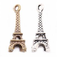 Wholesale Small Charms For Jewelry Making - 30 pcs lot Tibetan Silver Retro Small Eiffel Tower Charm Pendant Findings For DIY Jewelry Making Necklaces