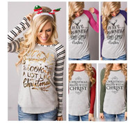 ingrosso camicia di elk-Natale T Shirt Elk Xmas Deer Camicie Donna Xmas Tops Xmas Letter T-shirt a Righe Casual Babbo Natale Camicetta Fashion design Maglie a manica lunga
