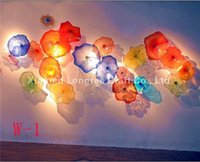 100% Hand <b>Blown Glass Wall Plates</b> Modern Art Deco Glass Wall Arts Chihuly Estilo Flower Shape Decoração Glass Wall Lamps