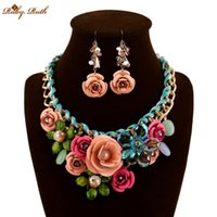 Wholesale European Necklace Earring Sets - Ruby.Ruth Jewelry Sets European Fashion Luxury for Women Evening African Beads Jewelry Set Suspension Crystal Flower Earring Necklace 2016