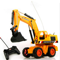 Wholesale Brushless Rc Trucks - Wholesale-25cm 1PCS Remote Control Scale Digger Excavator Construction Truck With Lighting Engineering RC Radio Control Electric Car Toy