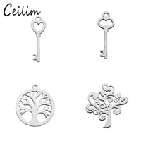 Wholesale Kawaii Plate - Kawaii small pendant key charms for jewelry making supplies stainless steel polishing metal tree of life charm fit DIY necklaces