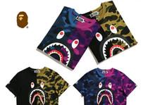 Wholesale T Shirt White Hoodie - palace T Shirt fashion street shark head stitching camouflage printing cotton men women Hoodies skateboard short sleeve OFF WHITE T-shirt