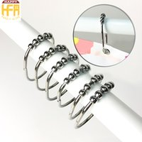 Wholesale Stainless Steel Shower Rollers - 100% Stainless Steel Metal Curtain Hooks Shower Curtain Hooks Decorative Rustproof Roller Rings 45*61Mm Four Colors 12Pcs Set