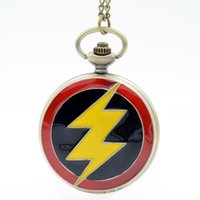 Wholesale Big Stationary - Big Size The Flash colorful dial The Flash Quartz Pocket Watch Mens Womens Necklace Pendant Analog Fob watch Gift