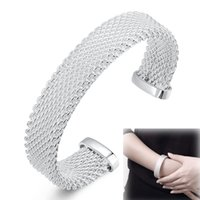 Wholesale Wide Sterling Silver Cuff Bracelet - 925 Sterling Silver Plated Jewelry Knitted Rattan Mesh Wide Circle Open Love Cuff Bracelets Bangles for Girls Women Christmas Gift