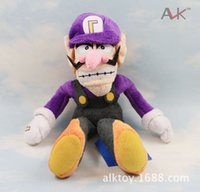 "Wholesale Super Mario Figures Waluigi - Wholesale-Waluigi 1piece 11"" 28cm Hot Selling Super Mario Bros Brothers Waluigi Plush Doll Soft Toy Movie Figures"