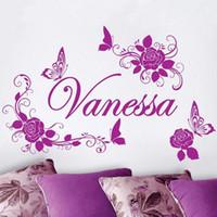benutzerdefinierte vinyl-kunst großhandel-Kostenloser Versand Home Decoration Personalisierte Benutzerdefinierte Name Blume Und Schmetterling Schönheit Wandaufkleber Mädchen Schlafzimmer Art Decor