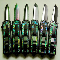 Wholesale Microtech Abalone - 6 models Microtech scarab black scarab Abalone shell double action Hunting Pocket Knife Survival Knife Xmas gift for men 1pcs freeshipping