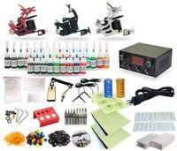 Wholesale Tattoo Gun Kit 25 - Complete Tattoo Kit 3 Machine Coil Guns Equipment Power Supply 25 Ink Colors TK-27