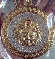 Wholesale Necklaces Pieces Sale - 24K gold new hot sale plated Medusa Avatar High quality crystal jesus piece pendant Fashion Jewelry