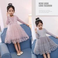 Wholesale Lace Splice Dress - 2017 Autumn New Baby Girls Dresses Lace embroidery Splice gauze Long Sleeve Dress Children Clothing E316964