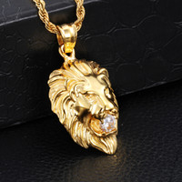 Wholesale biker necklaces for sale - Group buy Fashion Jewelry L Stainless Steel k Gold Plated Lion Head Biker Pendant Charms With White Crystals Stone Free Rope Chain