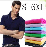Wholesale Tommy Fashion - S-6XL Polo Shirt Men Big small Horse crocodile tommy Camisa Solid Short Sleeve Summer Casual Camisas Polo Mens Free Shipping good quality