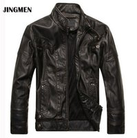 Wholesale Mens Leather Top Coat - NEW top quality Leather Jacket Men jaqueta de couro masculina mens leather jackets Men's Coat Motorcycle Jacket dropshipping