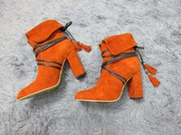 Wholesale Bent Over - New Arrival 2016 Autumn Bend Suede Leather Women Round Toe Lace Up Shoes Tassel Chunky Heel Boots Custom Made Dropshipping
