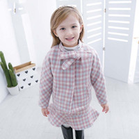 Wholesale Girls Tutu Coat Dress Pink - Everweekend Girls Bow Plaid Coat with Ruffles Dress 2pcs Sets Sweet Baby Pink Color Fleece Lining Clothes Princess Fall Outfits
