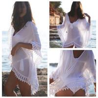 coberturas para fatos de banho venda por atacado-Mulheres verão maiô Sexy Lace Crochet Bikini Swimwear Cover Up vestido de praia branco em estoque envio rápido frete grátis