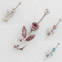 Wholesale Bell Rabbit - nice styles with mix colors Belly Button Navel Rings Body Piercing Jewelry Dangle Accessories Fashion belly pendant Charm Rabbit Angle