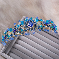 Wholesale Vintage Rhinestone Tiara Heart - Vintage Wedding Bridal Accessories Blue Crystal Rhinestone Baroque Princess Crown Tiara Headband Hairband Hair Jewelry Headpiece Party New