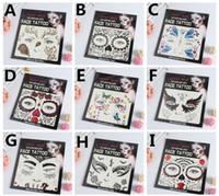 henna tinte groihandel-Heißer Verkauf Schreck Nacht temporäre Gesicht Tattoo Body Art Kette Transfer Tattoos temporäre Aufkleber auf Lager 9 Arten
