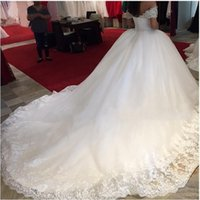 Wholesale Cap Sleeve Ball Dresses - Charming Ball Gown White Wedding Dress 2016 Sweetheart Neckline Empire Tulle Cap Sleeve Beaded Lace Court Train Wedding Gowns