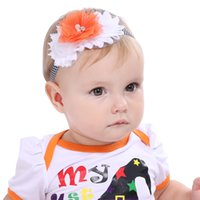 Wholesale Chevron Tulle - Orange tulle and white chiffon flower   halloween headband   chevron elastic