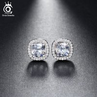 Wholesale Nickel Free Stud - Silver 18K Rose Gold Plated 1ct Cushion Cut Multi Color CZ Crystal Stud Earrings for Girls Fashion Nickel Free Jewelry OE149
